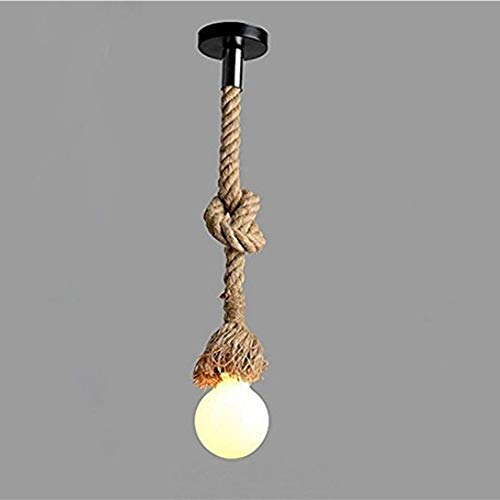 Borang 78.74inch Single Head Vintage Thick Hemp Rope Industrial Ceiling Light Pendant E27 Base Lamp Cord