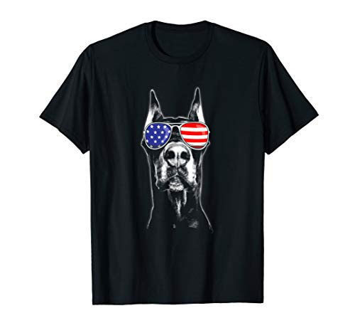 Doberman Sunglasses American Flag Funny 4th Of July T-Shirt