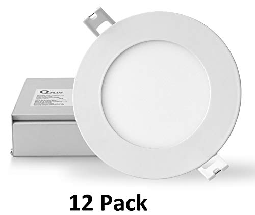 QPLUS 4 Inch Slim Recessed LED Pot Light with Junction Box, Dimmable, Energy Star and cETLus Listed (5000K Day Light, 12 -