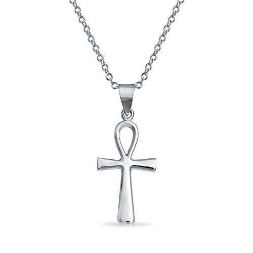 Key To Life Egyptian Ankh Cross Pendant Necklace For Women For Teen Polished 925 Sterling Silver