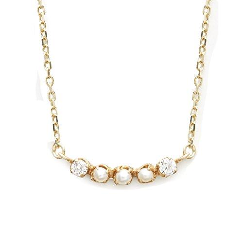 """Cerise Marron """"graines de graines de collier en or jaune 10carats avec perle et diamant Longueur de 40cm"""