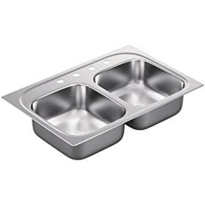 Moen G202154 2000 Series 20 Gauge Double Bowl Undermount Sink, Stainless Steel