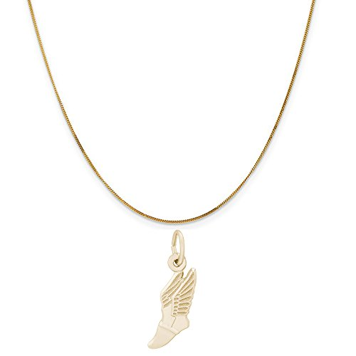 Rembrandt Charms 14K Yellow Gold Winged Shoe Charm on a 14K Yellow Gold Curb Chain Necklace, 18