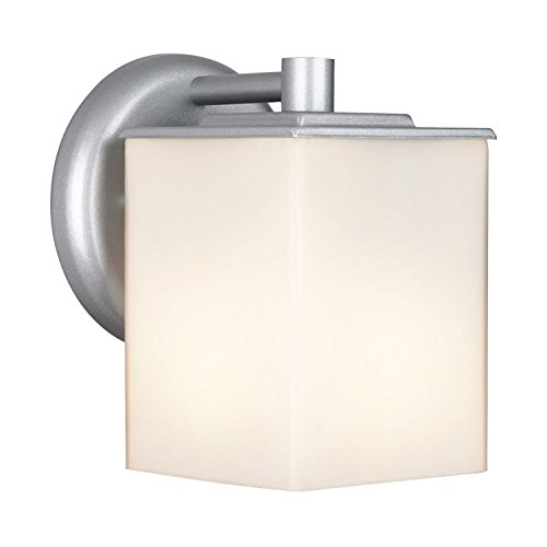 Forecast Lighting F8498-41 Midnight One-Light Exterior Wall Light with Etched White Opal Glass, Vista Silver -