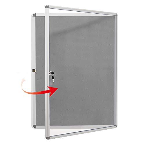 Swansea 4xA4 Fabric Bulletin Board Enclosed Wall Display Case with Aluminium Frame ()