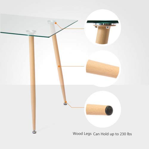 Mecor Dining Table Glass Top and Wooden Look Leg Modern Kitchen Table Rectangular by Mecor (Image #5)
