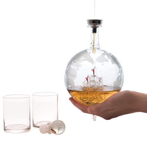 Olivia & Aiden Whiskey Decanter Globe with 8 Shot Glasses (Large 850 mL) World Map Liquor Dispenser | Unique, Vintage, Round | Bourbon, Scotch, Brandy, or Rum by OLIVIA & AIDEN (Image #3)