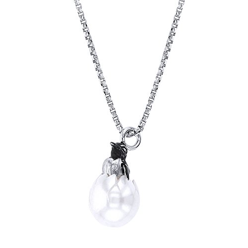(Galatea Sterling Silver Hand-Carved Freshwater Cultured White Pearl Penguin Pendant Necklace,)