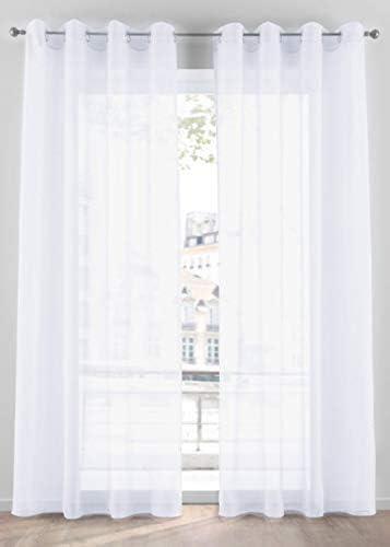 Tenda Zara Bianco Trasparente Occhielli Alluminio Tessuto Morbido per Camera e Salotto 140×300 cm n 1 Pannello