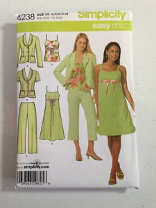 - OOP SIMPLICITY 4238 MISSES' DRESS, TOP, PANTS, CROPPED PANTS, 2 LINED JACKET SEWING PATTERN from the