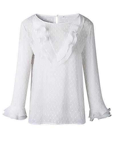 Chemise T Shirt Tops Couleur Dentelle Unie Col Casual Chemisier Volants Longues Blanc Coupe Rond Slim Femme Manches wfqS7OO