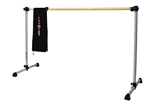 Vita Vibe Traditional Wood Ballet Barre - BNB5-W 5ft -Portable Single Bar w Carry Bag- Freestanding Stretch/Dance Bar - Vita Vibe - USA Made (Satin Silver) by Vita Vibe