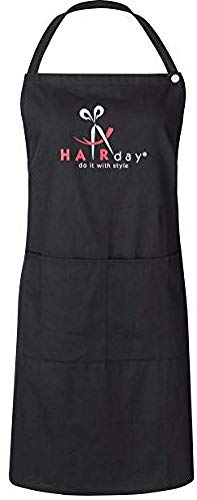 Black Bib Apron With Pockets and Snap Closure - 100% Cotton Reusable and Washable Smock for Hairstylists, Barbers, Salons, Kitchens and More, Adjustable Ties, Mens and Womens