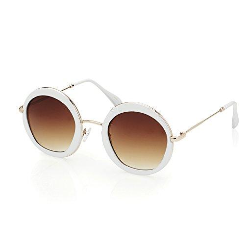 TWING Round Circle Fashion Designer Metal Sunglasses 10087 - White Designer Sunglasses Mens