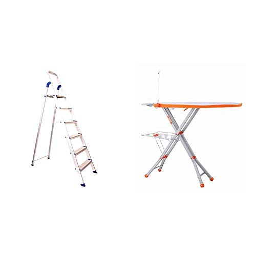 Bathla Advance 5-Step Foldable Aluminium Ladder with Sure-Hinge Technology (Orange)