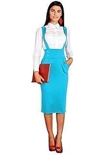 0431fedfd8d Futur Fashion Classique Viscose Femme Jupe de Tube à Genou avec Boutons  Bretelles…