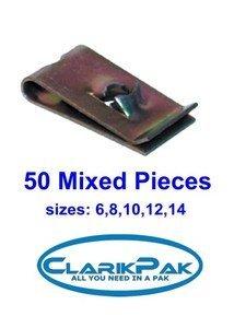 Speed Fastener 'U' Nuts Assorted 50Pc Set Cp097 (N0.S 6-8-10-12-14 Gauge) Clarik