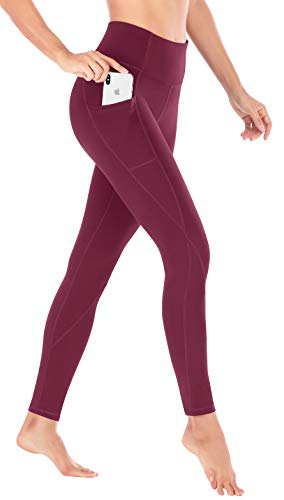 Heathyoga Yoga Pants High Waist Leggings for Workout Running & Yoga, Super Soft and Non See-Through Fabric (H7521 Wine, X-Small)