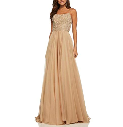 PJTOP Women's Sequins V-Neck Backless Empire Waist Party Wedding Maxi Long Dresses (X-Large, Champagne)