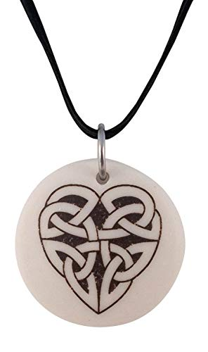 Celtic Heart Round Porcelain Pendant On Braided Cord | Irish and Scottish Love - Womens Porcelain Pendant