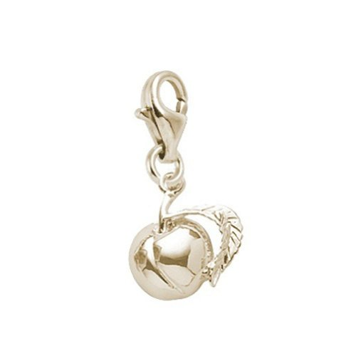 - 14K Yellow Gold Peach Charm With Lobster Claw Clasp, Charms for Bracelets and Necklaces