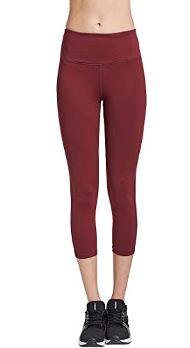 COOLOMG Women's Yoga Capri Leggings Workout Running Pants Non See-Through with Inner Pocket Burgundy Adults Large