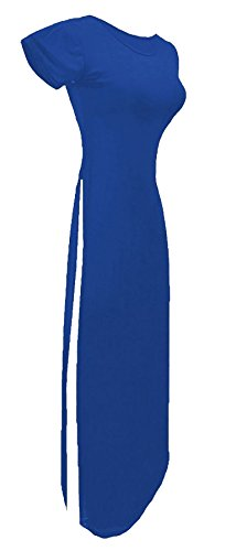 21fashion Des Femmes De Dames Maxi Robe Fendue Du Côté Manches Courtes Avec Encolure Dégagée Longue Robe Tunique Haut Uk 8-14 Bleu Royal