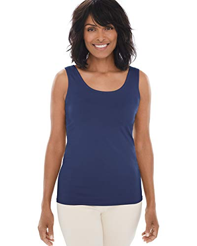 Chico's Women's Microfiber Tank Size 12/14 L (2) Blue (Womens Sleeveless Shell)