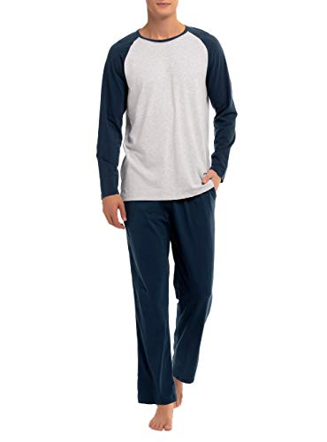 (David Archy Men's Cotton Raglan Sleepwear Long Sleeve Top & Bottom Pajama Lounge Set (M, Navy Blue))