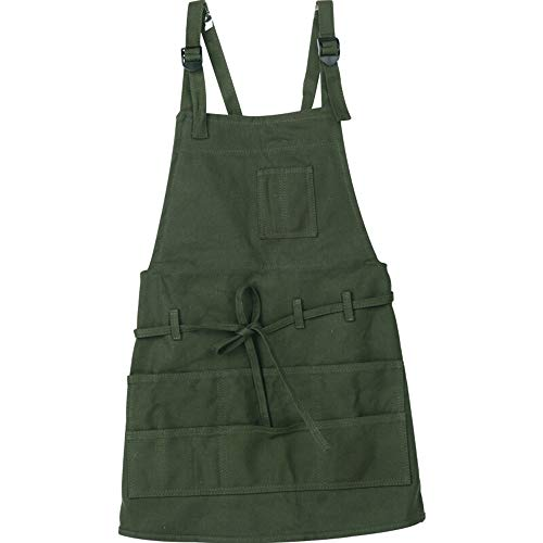 MyLifeUNIT Canvas Artist Apron, Bib Apron with Adjustable Neck Strap & Waist Ties