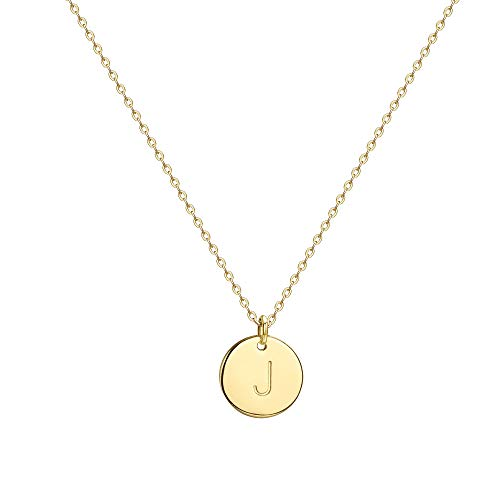 Befettly Initial Necklace Pendant 14K Gold-Plated Round Disc Double Side Engraved Hammered Choker Necklace 16.5'' Adjustable Personalized Alphabet Letter Pendant J (Necklaces With A Initial)