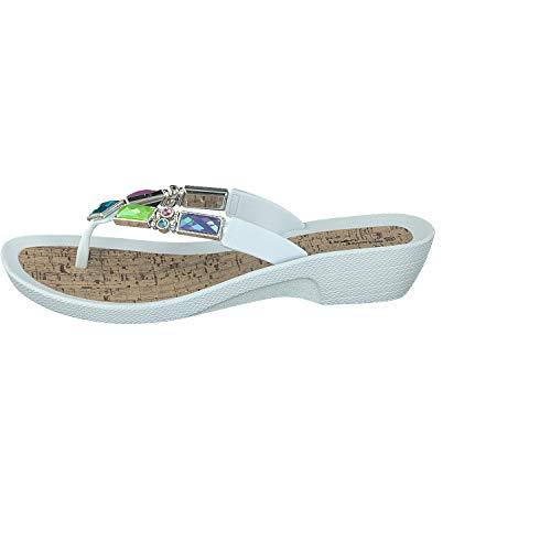 Tacón Chanclas Zapatillas Linea Moda Con Scarpa Flip De Blanco Mujer 7wRCWxpAqH