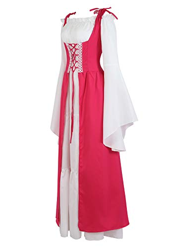 Famajia Womens Renaissance Costume Medieval Irish Over Dress and Trumpet Sleeves Chemise Boho Set