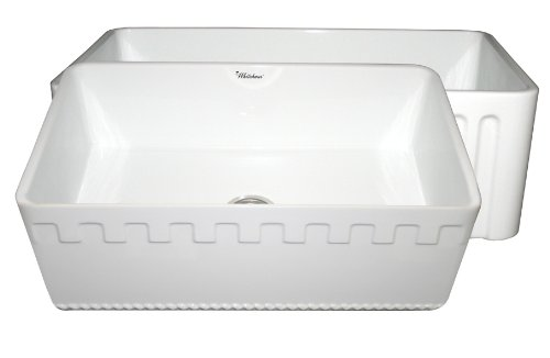 Whitehaus WHFLATN3018 30-Inch Reversible Series Fireclay Sink with An Athinahaus Front Apron One Side and Fluted Front Apron on Opposite Side, White by Whitehaus Collection