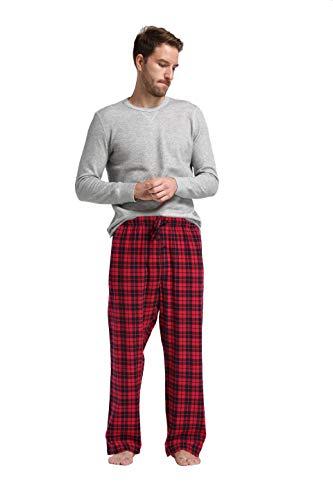 (CYZ Men's 100% Cotton Super Soft Flannel Plaid Pajama Pants (S, Black Red Tartan Gift Set))