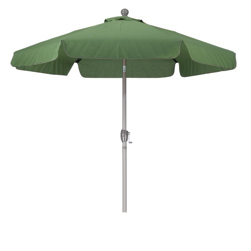 California Umbrella 7.5' Round Aluminum Pole Fiberglass Rib Umbrella, Crank Open, Push Button 3-Way Tilt, Champagne Pole, Palm Green Palm Umbrella Base