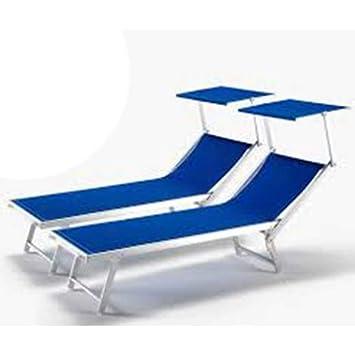 Juego de dos hamacas de aluminio en blanco para la piscina o la playa: Amazon.es: Jardín
