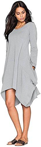 Minetom Mujeres Casual Cuello Redondo Manga Corta Vestido Bolsillos Color Sólido Hem Irregular Blusas Camisas Gris