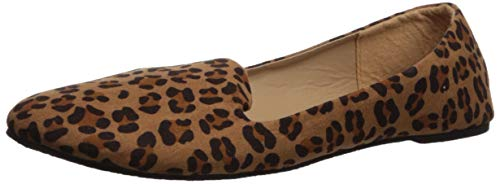 (Forever Link Womens Ballet Flats Loafer Shoes Slip On, Leopard, 6 )