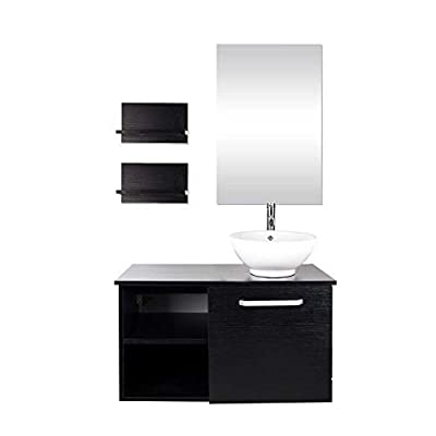 28 Inch Wall Mounted Bathroom Vanity and Ceramic Sink Combo with Mirror and Chrome 1.5GPM Water Saving Faucet and Pop-up Drain Set Modern Lavatory Floating Vanity with Counter Top Sink