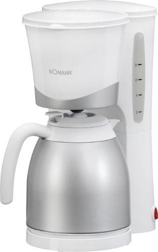 Bomann KA 168 CB Cafetera de Goteo con Jarra Termo, Capacidad 8-10 Tazas 1 litro, Blanca Plata, 870W, 870 W, 10 Cups, Acero Inoxida