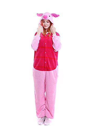 Unisex-adult Animal Onesie Pig Pajamas Cosplay Costume Halloween (Large (66.1-69.7 Inch), Piglet) -