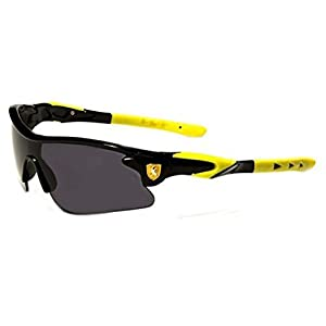 Khan New 2014 Kids Boys Biking Baseball Performance Sports Sunglasses-KN40KD (Black Yellow Tips)