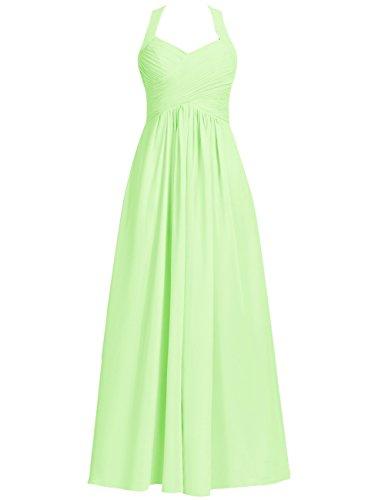 Halter Bridesmaid Dresses Long Prom Dress Chiffon Evening Formal Gowns Pleats Maxi Sage US 10