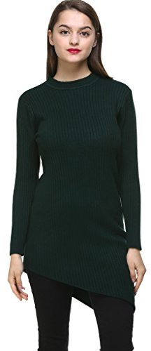 vogueearth Fashion Femme's Ladies Round Neck Knit Jumper Tunic Sweater Chandail Tricots Pullover Top Robe Fonc
