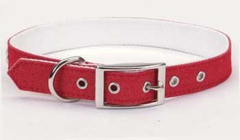Too! Denim Nylon Dog Pet Collar with Pyramid Studs 18 Inches RED ()