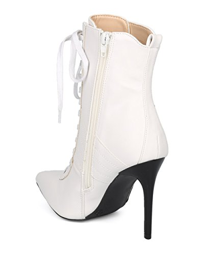 Alrisco Dames Puntige Neus Sport Stripe Vetersluiting Stiletto Bootie - Hf17 Door Wild Diva Collectie Wit Kunstleer