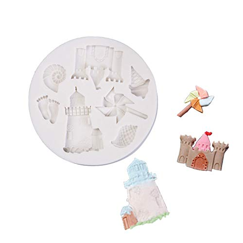 1PCS Castle Lighthouse Paper Windmill Cup Cake Decorating Mould for Soaps Candy Chocolate Gummies Clay Making Cake Molds Baking Molds Kitchen Accessories Tools
