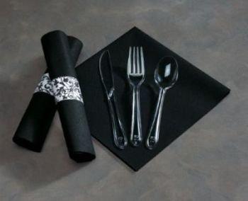 (Caterwrap Black Linen Like Napkin Wrap w/Heavy Duty Clear Cutlery 50 Napkin Wraps per Bag)