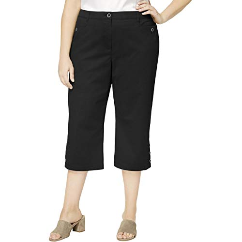 - Karen Scott Women's Plus Size Button-Cuff Capri Pants (20W, Deep Black)